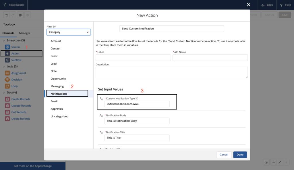 Custom Notification using Flow in Salesforce
